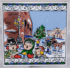 Carolyn Payne Creations Christmas Carolers Art Tile Trivet 1989