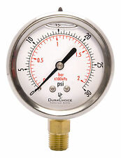"2-1/2"" Oil Filled Pressure Gauge - SS/Br 1/4"" NPT Lower Mount 30PSI"
