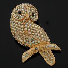 Large Sparkly Gold & AB Rhinestone Crystal Barn Owl Brooch
