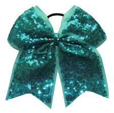 """NEW """"FANCY SEQUIN Ocean Teal"""" Cheer Bow Pony Tail 3"""" Ribbon Girls Cheerleading"""