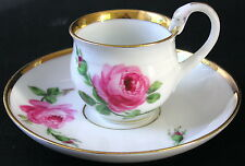 Vintage Signed Meissen Hand-Painted ROSES Swan Handle Demitasse Cup & Saucer