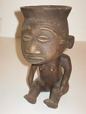 """VINTAGE AFRICAN TRIBAL CARVED WOOD FIGURE BOWL HEAD OF WOMAN SITTING 9"""" HIGH"""
