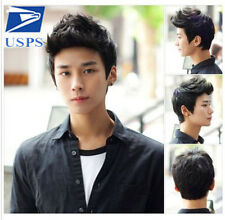 Male Black Short Vogue Handsome Korean Full Hair Wig Natural Daily Curly Wigs