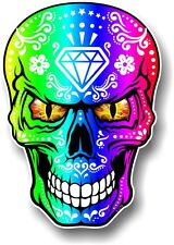 Realistic Mexican Sugar Skull Multi Colour & Evil Eyes car bike sticker Decal