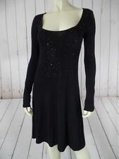 KAREN KANE Dress XS Black Rayon Spandex Thin Knit Pullover Black Sequins SEXY!