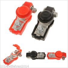 Car Battery Terminal Clamp Clips Positive Negative Connector w/ Black Red Cover