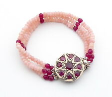 Bracelet Pink Opal and Ruby 3 Strand Bracelet With Vintage Sterling Silver Ruby