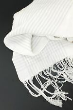Ralph Lauren White and Gray Cotton Ramie Throw Blanket  Fringed 81""