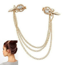 Fashion Girl Gold Metal Crystal Feather Cuff Chain Jewelry Headband Hair Band