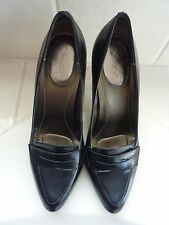 CALVIN KLEIN FANCY BLACK LEATHER LOAFER PUMP HEEL WOMEN SHOE SIZE 7 M