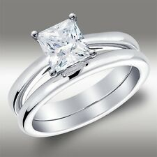 1.56 Ct Princess Solitaire Engagement Ring Matching Wedding Band 14k White Gold