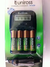 UNiROSS 1 Hour LCD Battery Charger & 4 x AA DURACELL RECHARGEABLES 1700 mAh