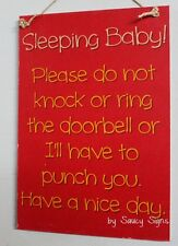 Sleeping Baby Door Knocker Warning Sign - Mother Cute Shabby Wooden Cots Chic