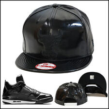 New Era Chicago Bulls Snapback Hat Cap ALL BLACK PATENT LEATHER Jordan 11lab4