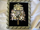 pink shabby n chic rhinestone christmas tree picture decoration vintage jewelry