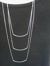 "$18 Nordstrom 3 Layer Curved Bar Layering Chain Necklace Silvertone 34"" Long"