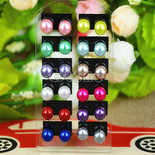 Cute Wholesale lots 12 Pairs Glossy Round Style Earrings Stud Jewelry Fashion