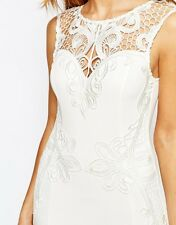 BNWT LIPSY MICHELLE KEEGAN ALL WHITE LACE APPLIQUE BODYCON DRESS SIZE 12 *RARE*