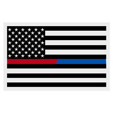 Black American Flag Red Blue Line Fire Police Medium Large Decal 3 X 5""
