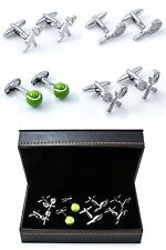 Tennis Player Ball Racquet Racquets 4 Pairs Cufflinks Wedding Fancy Gift Box