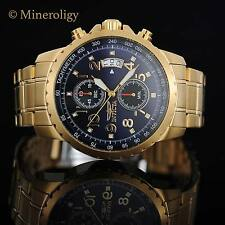 18k Gold IP Invicta Specialty Chronograph Tachymeter Date Blue Dial Men's Watch