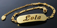 LOLA - Bracelet With Name - 18ct Yellow Gold Plated - Gifts For Her - Fashion