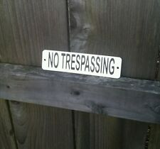 No Trespassing Metal Sign - Etched Stainless Steel for front door
