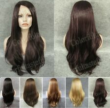 """24"""" front lace long straight side parting dark brown golden black synthetic wig"""