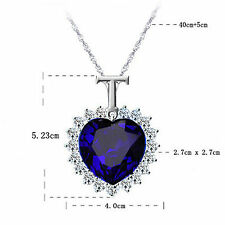 TITANIC Ocean Blue Heart Necklace Pandant Lover Jewellery Gift UK + Silver Chain