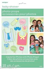 BABY SHOWER PHOTO BOOTH PROPS BIBS BOTTLE DUMMIES BOY OR GIRL PARTY DECORATIONS