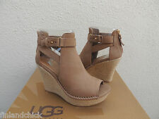 UGG JOLINA TAWNY BROWN LEATHER WEDGE ANKLE BOOT HEELS, US 8/ EUR 39 ~NIB