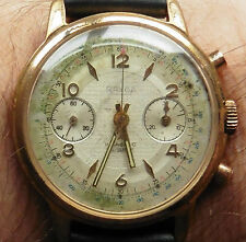 1950's RAYGA Gold Plated Landeron 248 Chronograph Watch serviced warranty