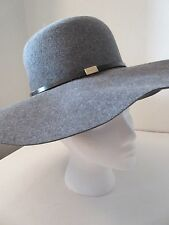 Gucci Italy Lapin Rabbit Felt Grey Wide Brim Side Logo Hat Floppy hat  SMALL 56