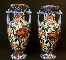 GIEN faïence fine modèle PIVOINE jolie paire vases balustres 35cm poterie chic+