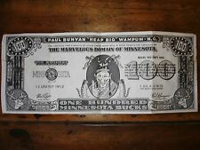 Vintage 1952 Huge Minnesota Gopher State Joke 100 Bucks Bill W/ Paul & Blue Ox