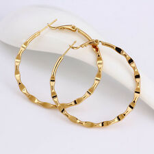 "9K 9ct Yellow ""GOLD FILLED"" Ladies Gorgeous Medium Hoop Earrings, 46mm ,Gift"