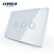 Livolo New US Type AC110-250V 3 Gang 1 Way White Wall Light Touch Dimmer Switch
