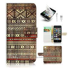 iPhone 5 5S Print Flip Wallet Case Cover! Tribal India Aztec Pattern P0461
