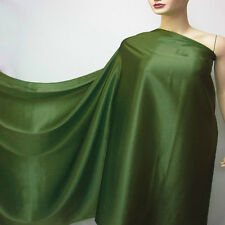 By The Yard Mid Green Pure Silk Satin Charmeuse Fabric Discount Crepe Back