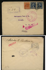 Costa  Rica  registered cover to US  1914             JL0726