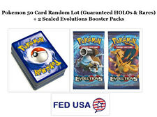 Pokemon TCG 50 Card Lot Includes HOLOs, Rares and 2 Evolutions Booster Pack