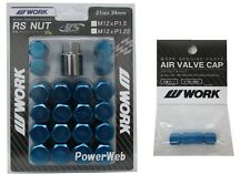 WORK Lug Lock nuts set for 5H 12x1.25 and 4pcs Air Valve caps Blue Value set