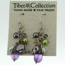 Tibet Collection Orachid Earrings .925 Sterling Silver