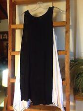 dkny donna karan sz xl sleeveless maxi dress black white rayon spandex Euc