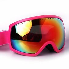 Ski Goggles Adult Anti-Fog Orange CA And PC Double Lens Pink Frame Snow Goggles