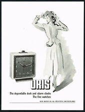 1940's Vintage 1949 Oris Watch Co. Alarm Clock Mid Century Modern Art Print AD