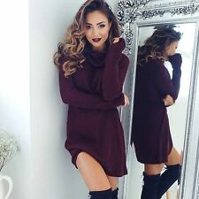 Women High Collar Long Sleeve Knitwear Winter Ladies Knitted Sweater Dress