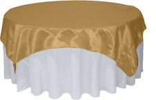 "Gold Satin Table Overlay 58"" X 58"" Square Tablecloth Cover, Wedding Decoration"