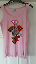 Band New SUPER GIRL Baby Pink Vest Top. Size M 12-14