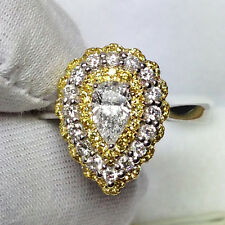18ct White Gold Stunning Pear Natural Fancy Yellow and White Diamond Ring